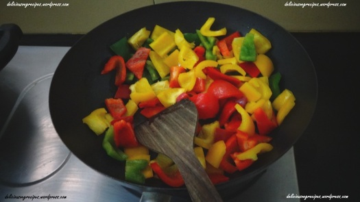 Saute bell peppers in oil